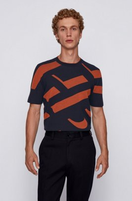 Cotton-blend short-sleeved sweater with monogram pattern, Dark Blue