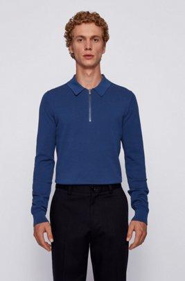 ジップネックセーター 編み柄入りコットン ポロカラー, ダークブルー