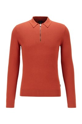 Zip-neck sweater in structured cotton with polo collar, Light Orange