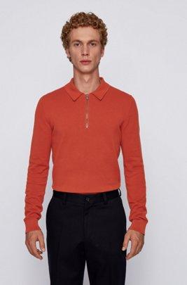 ジップネックセーター 編み柄入りコットン ポロカラー, ライトオレンジ