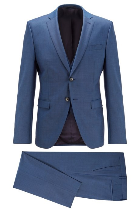 Extra-slim-fit three-piece suit in virgin wool, Open Blue