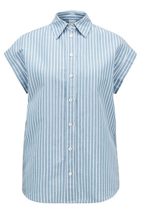 Gestreifte Relaxed-Fit Bluse aus Baumwolle mit Leinen, Blau