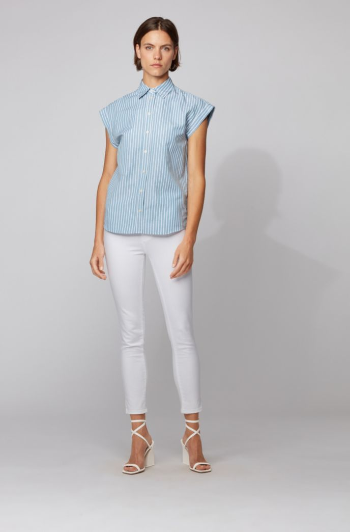 Relaxed-fit blouse in a striped cotton-linen blend