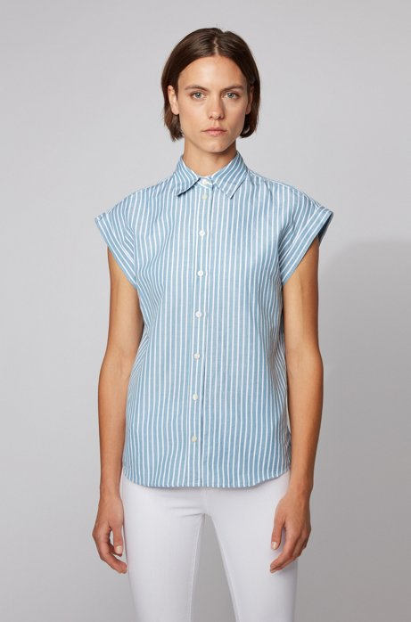 Relaxed-fit blouse in a striped cotton-linen blend, Blue