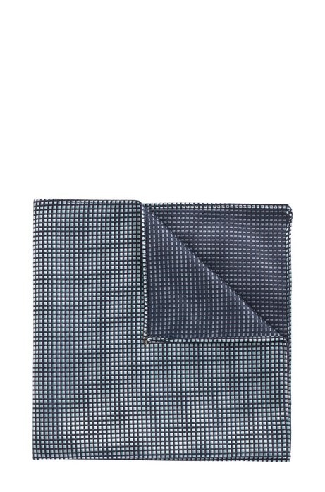 Pocket square in pure silk with jacquard-woven pattern, Dark Blue