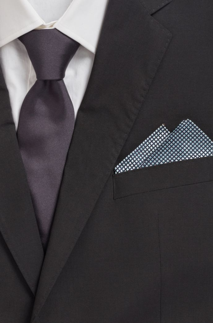 Pocket square in pure silk with jacquard-woven pattern