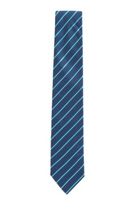 Diagonally striped tie in silk jacquard, Green