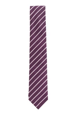 Diagonally striped tie in silk jacquard, Purple