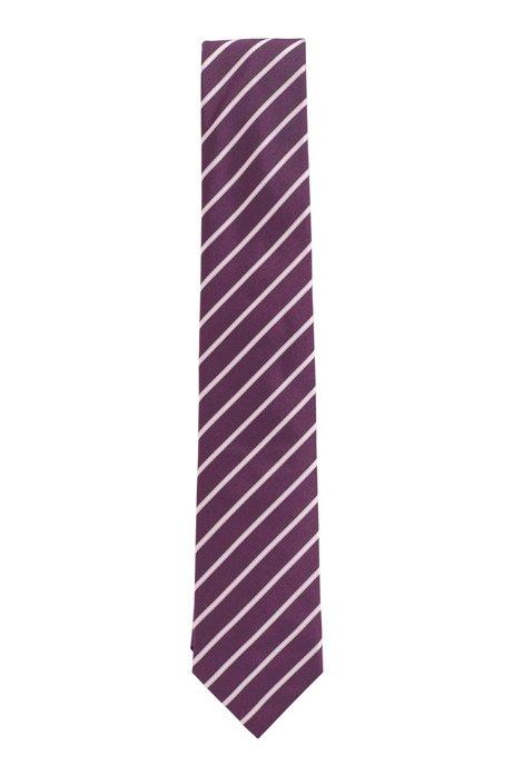 Krawatte aus Seiden-Jacquard mit diagonalen Streifen, Lila