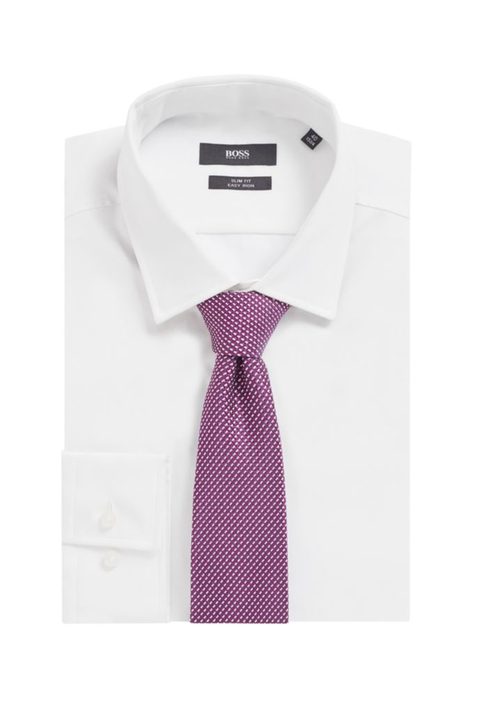 Micro-pattern tie in silk jacquard
