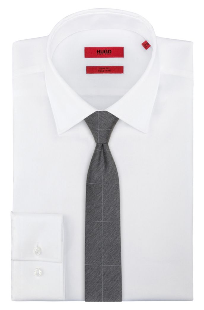 Silk-blend melange tie with large-scale check