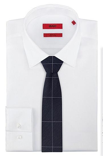 大格纹真丝混纺混色领带,  405_暗蓝色