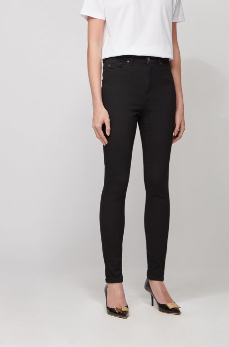 Skinny-Fit Jeans aus Stretch-Denim mit Stay-Black-Treatment, Schwarz