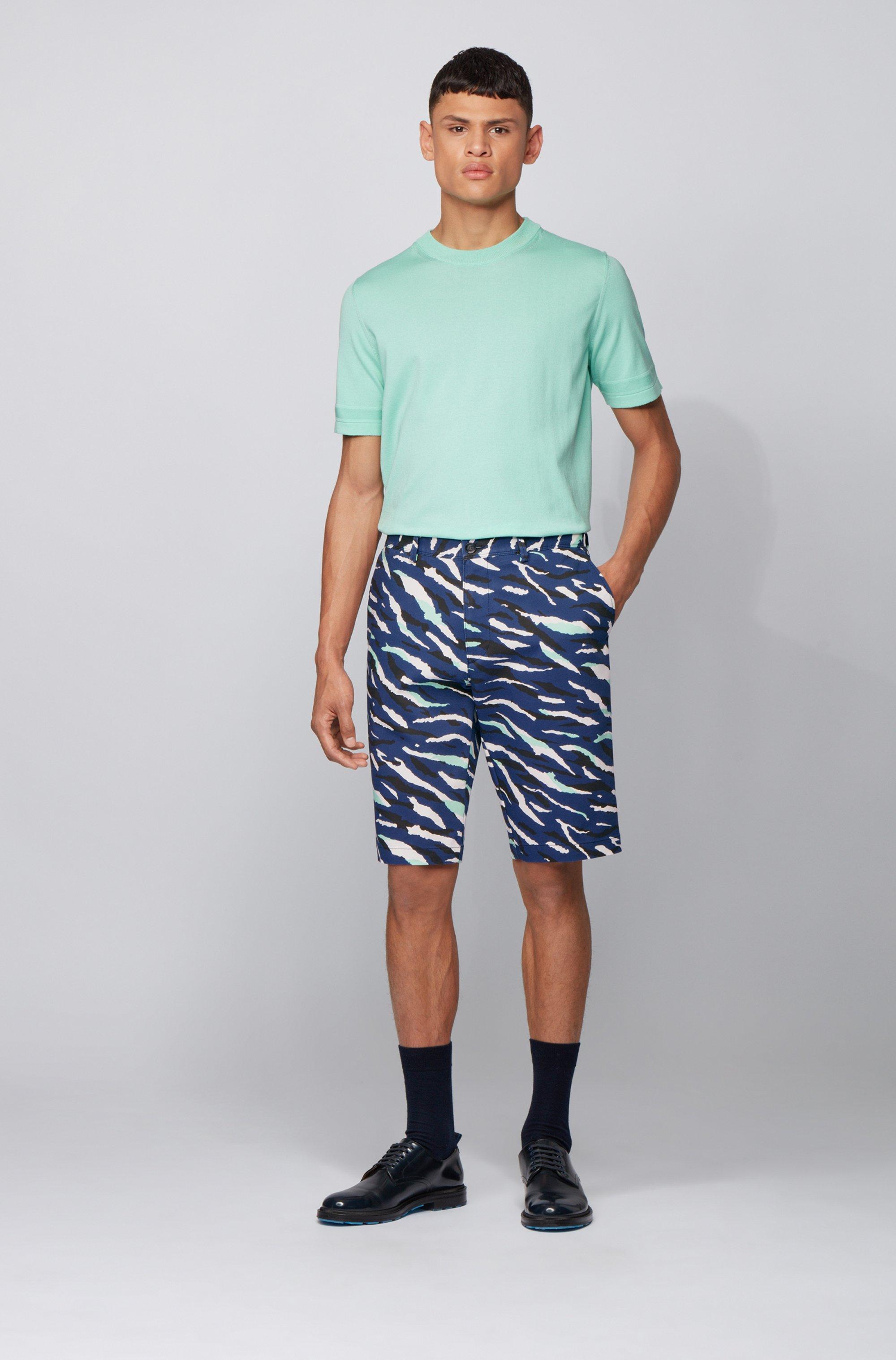Shorts aus elastischem Baumwoll-Mix mit Camouflage-Muster im Animal-Look