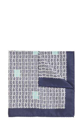 Einstecktuch aus reiner Seide mit Monogramm-Print, Dunkelblau