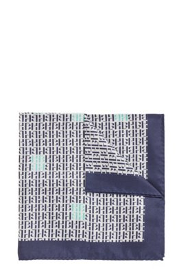 Monogram-print pocket square in pure silk, Dark Blue