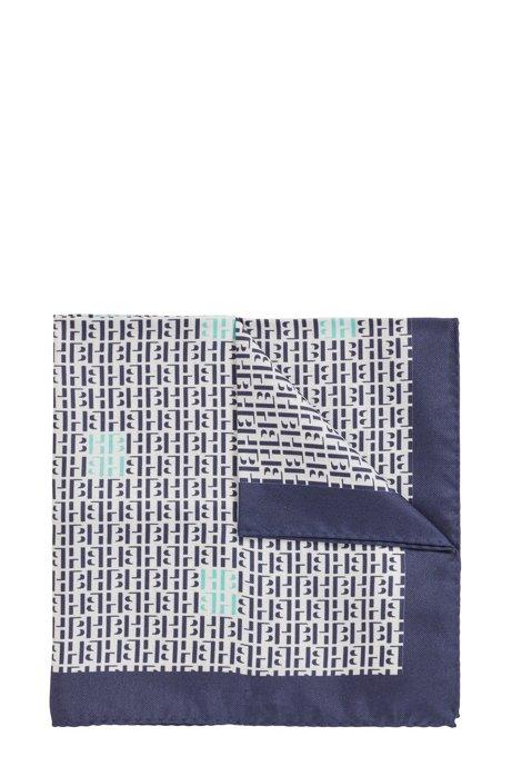 Monogram-print pocket square in pure silk, Dark Blue