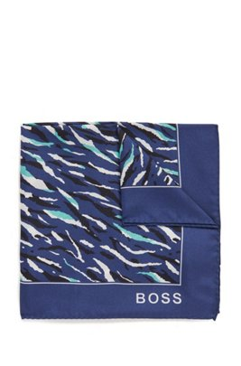 Monogram-print pocket square in pure silk, Light Blue