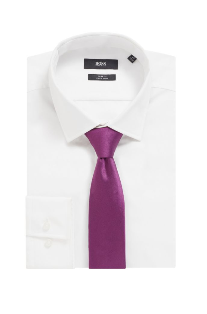 Silk-jacquard tie with rear ribbon loop