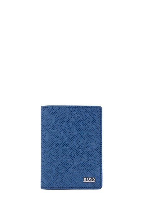 Kartenetui aus geprägtem Leder aus der Signature Collection, Blau