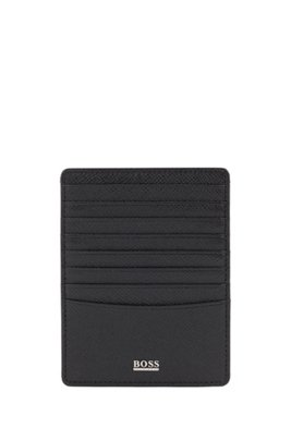 Signature Collection coin case in embossed leather, Black