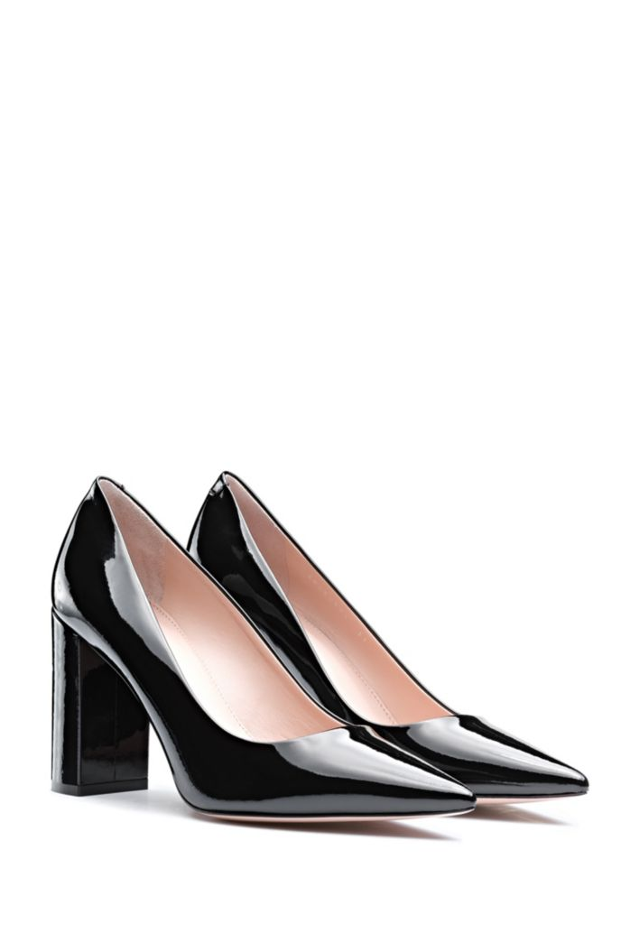 Italian-made block-heel pumps in patent leather