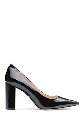 Italian-made block-heel pumps in patent leather, Black