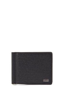 Portefeuille Signature Collection en cuir palmellato avec pince à billets, Noir