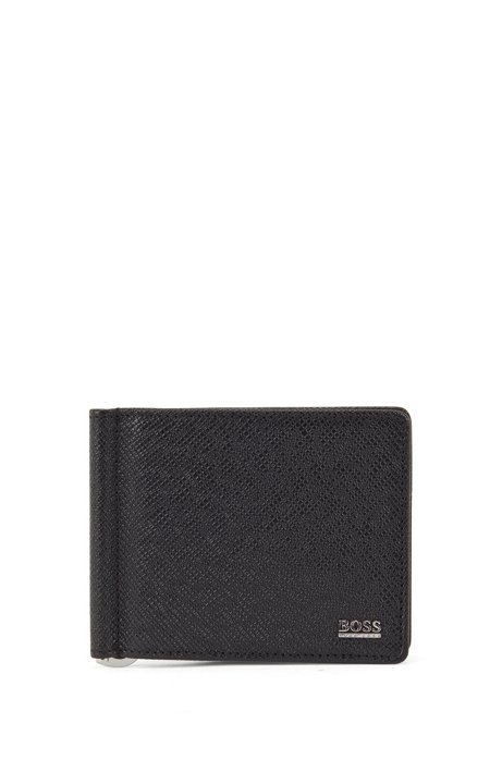 Signature Collection wallet in palmellato leather with money clip, Black