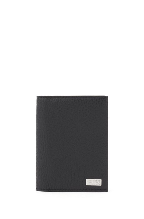 Italian-leather folding card holder with metal money clip, Black