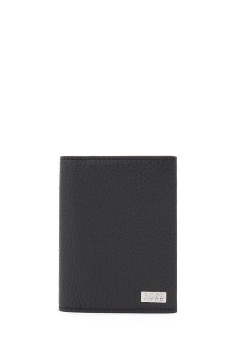 Porte-cartes pliable en cuir italien avec pince à billets en métal, Noir