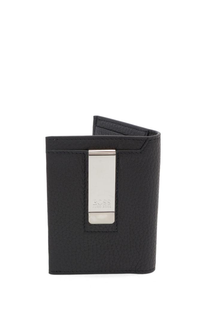 Porte-cartes pliable en cuir italien avec pince à billets en métal
