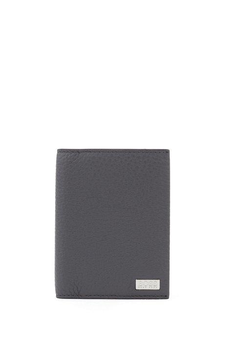 Klapp-Kartenetui aus italienischem Leder mit metallener Geldscheinklammer, Grau