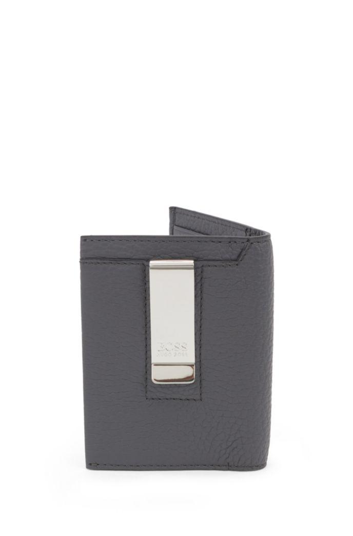 Klapp-Kartenetui aus italienischem Leder mit metallener Geldscheinklammer