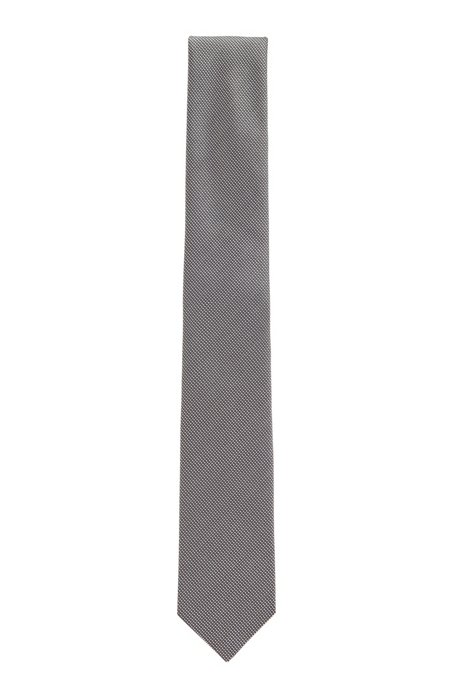 Hand-crafted tie in structured silk jacquard, Black