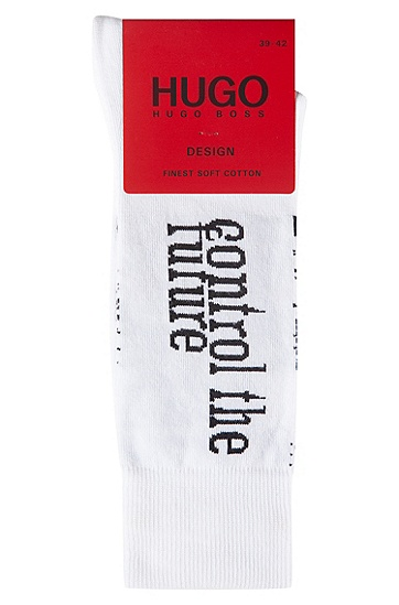 男士图形印花棉混纺中长袜,  100_白色