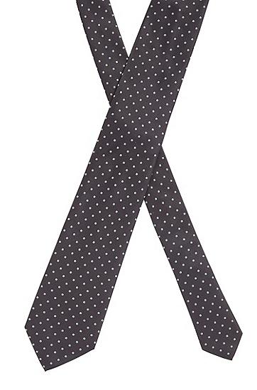 手工制造真丝提花波点图案领带,  401_暗蓝色