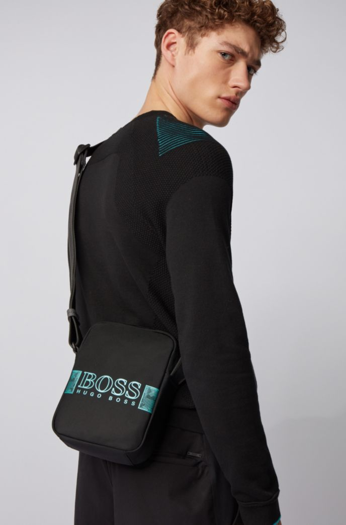 Structured-nylon reporter bag with logo artwork