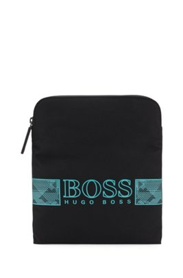 Structured-nylon envelope bag with logo artwork, Black