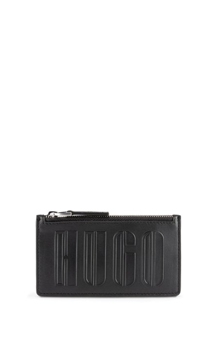 Logo-embossed faux-leather card holder with coin pocket, Black
