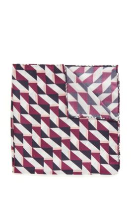 Printed silk pocket square with rolled hem, Purple