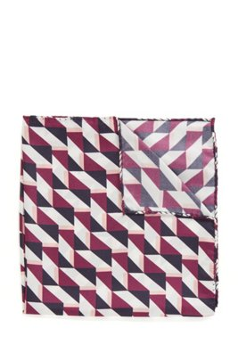 Pañuelo de bolsillo de seda estampado con dobladillo enrollado, Lila