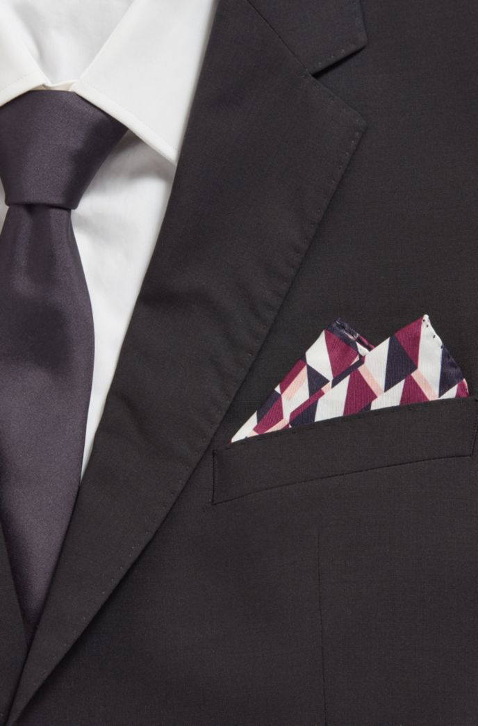 Printed silk pocket square with rolled hem