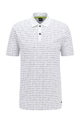 Polo en piqué de coton à imprimé intégral, Blanc