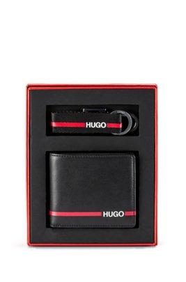 Coffret cadeau composé d'un porte-clés et d'un portefeuille à rayure logo, Noir