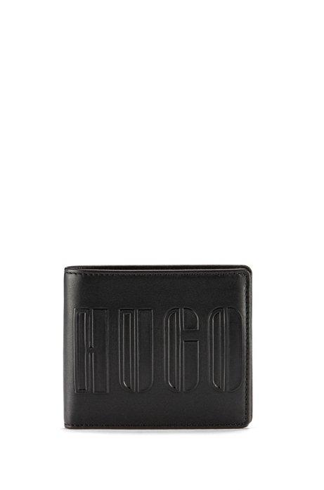 Klapp-Geldbörse aus Leder mit geprägtem Klaviertasten-Logo, Schwarz