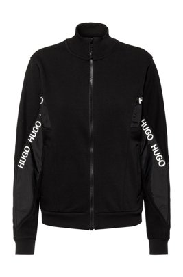 Relaxed-fit cotton-blend jacket with logo inserts, Black