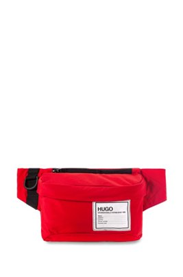 Zip-close belt bag with branded patch, Red