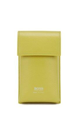 Bolsito Signature Collection en piel grabada con correa desmontable, Verde