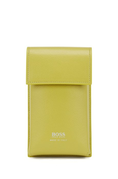 Signature Collection pouch in embossed leather with detachable strap, Green
